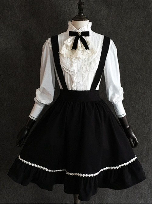 Little Devil Series Gothic Lolita Black Suspender Skirt