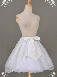 All-match White Chiffon Bowknot Lolita Transparent Skirt