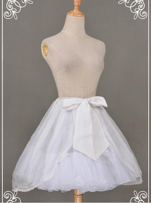 All-match White Chiffon Bowknot Lolita Transparent Skirt