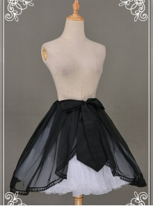 All-match Black Chiffon Bowknot Lolita Transparent Skirt