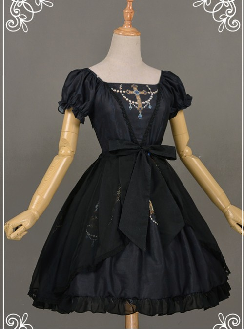 All-match Black Chiffon Bowknot Lolita Transparent Skirt