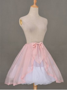 All-match Pink Chiffon Bowknot Lolita Transparent Skirt
