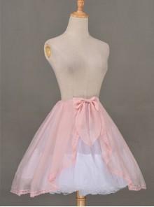 All-match Pink Chiffon Bowknot Lolita Transparent Skirt