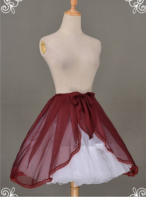 All-match Wine Red Chiffon Bowknot Lolita Transparent Skirt