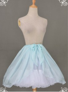 All-match Baby Blue Chiffon Bowknot Lolita Transparent Skirt