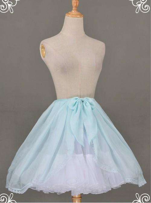 All-match Baby Blue Chiffon Bowknot Lolita Transparent Skirt