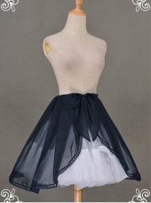 All-match Dark Blue Chiffon Bowknot Lolita Transparent Skirt