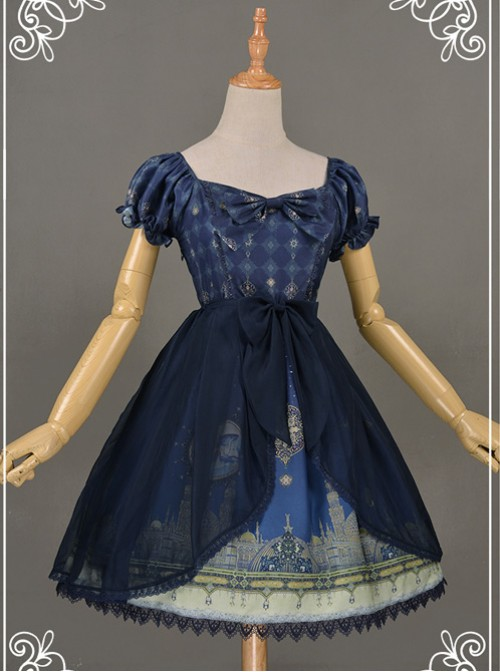 All-match Dark Blue Chiffon Bowknot Lolita Transparent Skirt