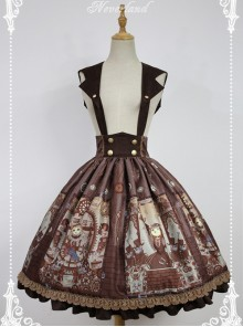 Steampunk Cat Series Cat Ears Collar Brown Punk Lolita Shoulder Straps Skirt