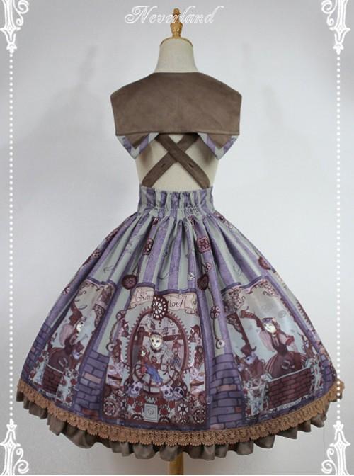 Steampunk Cat Series Cat Ears Collar Gray-blue Punk Lolita Shoulder Straps Skirt