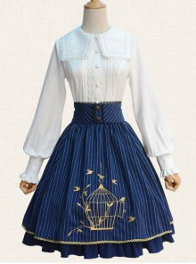 Birdcage Embroidery Vintage Stripe Blue Chiffon Classic Lolita Skirt