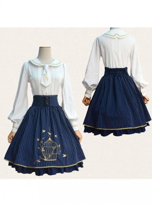 Birdcage Embroidery Vintage Stripe Blue Chiffon Classic Lolita Skirt