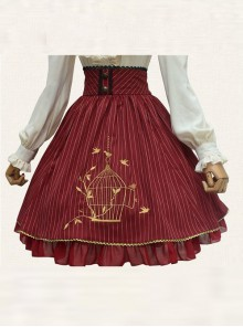 Birdcage Embroidery Vintage Stripe Wine Red Chiffon Classic Lolita Skirt