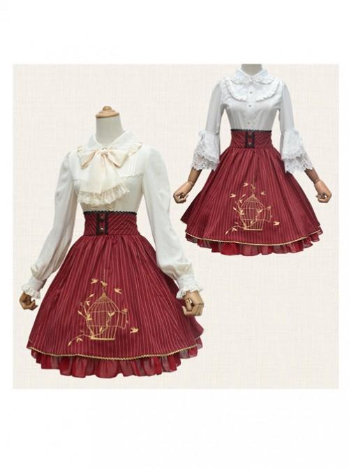 Birdcage Embroidery Vintage Stripe Wine Red Chiffon Classic Lolita Skirt