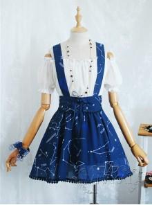 Beautiful Constellation Series Navy Blue Chiffon Classic Lolita Sling Skirt