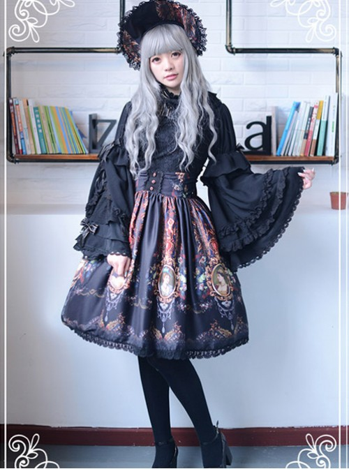 Be Obsessed With Rococo Series Black Retro Printing Classic Lolita Skirt