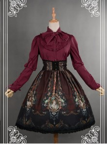 Be Obsessed With Rococo Series Wine Red Retro Printing Classic Lolita Skirt