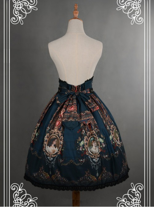 Be Obsessed With Rococo Series Navy Blue Retro Printing Classic Lolita Skirt