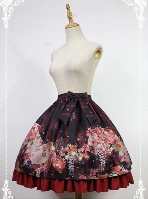 Hyakki Yako Series Black And Red Stripes Nine-tailed Fox Printed Lolita Skirt