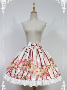 Hyakki Yako Series White And Red Stripes Nine-tailed Fox Printed Lolita Skirt