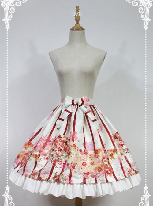 Hyakki Yako Series White And Red Stripes Nine-tailed Fox Printed Lolita Skirt