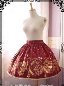 The Mermaids Singing Series High Waist Gold Stamping Wine Red Lolita Skirt