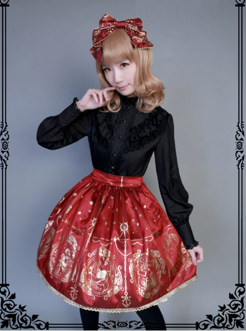 The Mermaids Singing Series High Waist Gold Stamping Wine Red Lolita Skirt