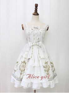 Angel Cross Series Rice White Bowknot Lace Lolita Sling Dress