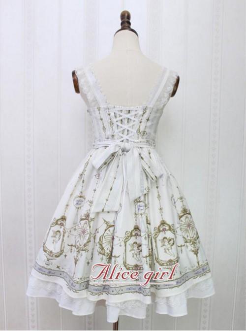 Angel Cross Series Rice White Bowknot Lace Lolita Sling Dress