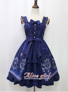 Angel Cross Series Navy Blue Bowknot Lace Lolita Sling Dress