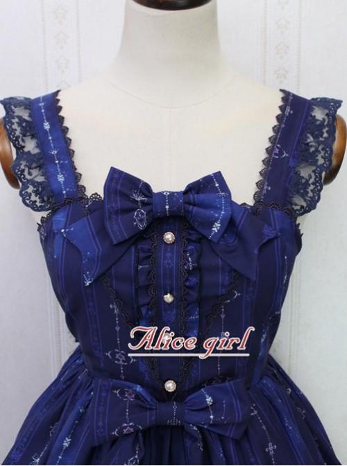Angel Cross Series Navy Blue Bowknot Lace Lolita Sling Dress