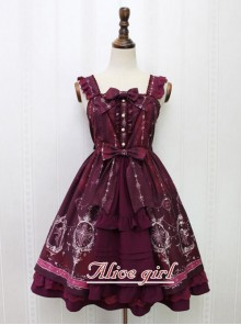 Angel Cross Series Wine Red Bowknot Lace Lolita Sling Dress