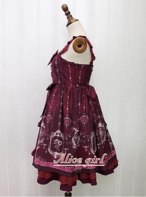 Angel Cross Series Wine Red Bowknot Lace Lolita Sling Dress