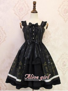Angel Cross Series Black Bowknot Lace Lolita Sling Dress