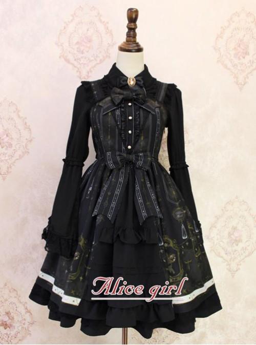 Angel Cross Series Black Bowknot Lace Lolita Sling Dress