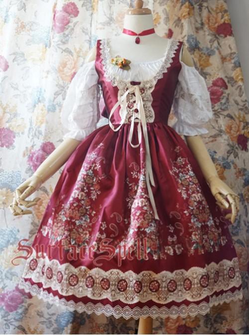 Alpen Rose Ethnic Style High Waist Fish-bone Light Wine Red Lolita Skirt