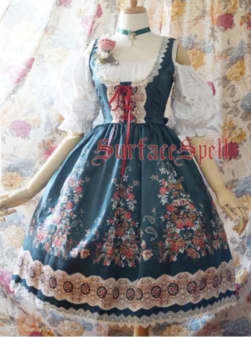 Alpen Rose Ethnic Style High Waist Fish-bone Light Dark Green Lolita Skirt