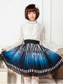 The Dark Moon Night Bats Halloween Dark Blue Gothic Lolita Skirt