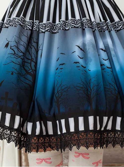The Dark Moon Night Bats Halloween Dark Blue Gothic Lolita Skirt