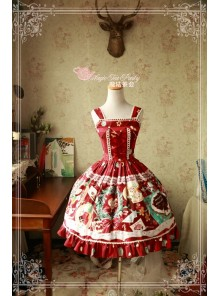 Sweet Christmas Series Printed Lace Red Lolita Sleeveless Dress