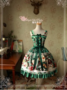 Sweet Christmas Series Printed Lace Green Lolita Sleeveless Dress