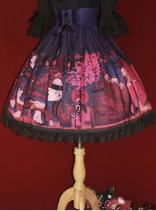 Hyakki Yako Red Leaf Sacrifice Series Navy Blue High Waist Lolita Skirt
