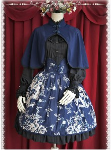 Chinese Wind Dragon High Waist Dark Blue Qi Lolita Skirt