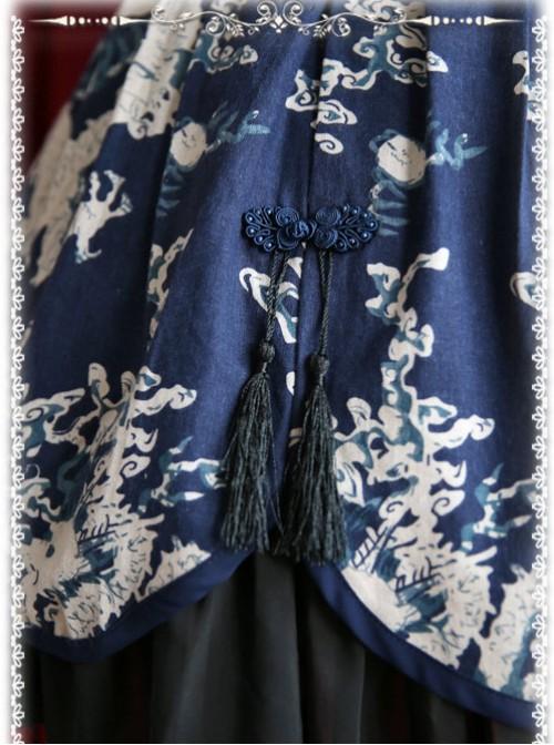 Chinese Wind Dragon High Waist Dark Blue Qi Lolita Skirt
