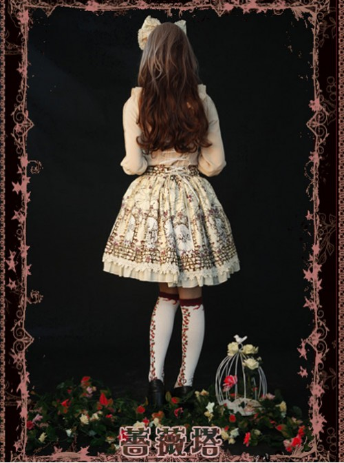 Rose Tower Sleeping Beauty Series Middle-waisted Ivory Bowknot Lolita Skirt