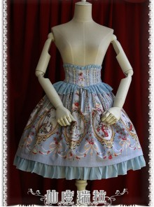 Cinderella Series High Waist Gray-blue Classic Lolita Skirt