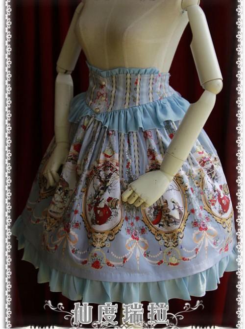 Cinderella Series High Waist Gray-blue Classic Lolita Skirt