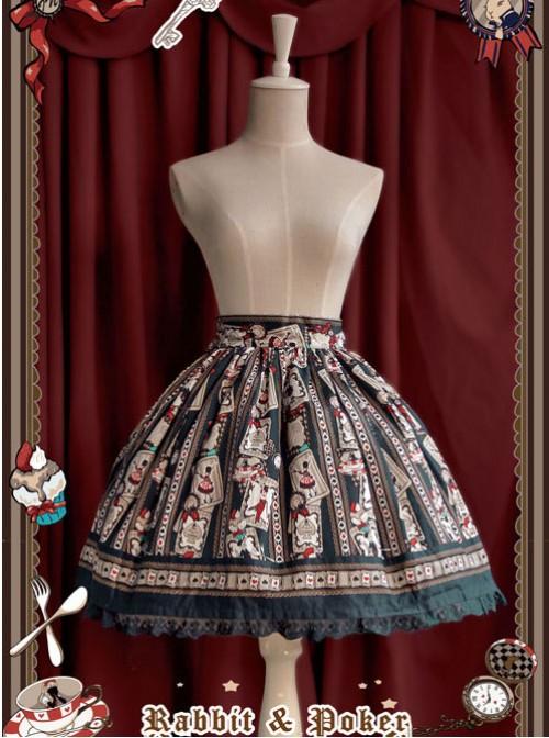 Rabbit Poker Series Dark Green Lace Classic Lolita Skirt