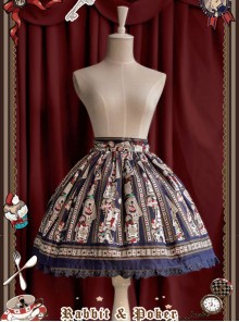 Rabbit Poker Series Dark Blue Lace Classic Lolita Skirt