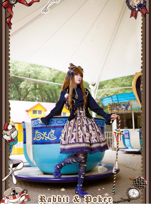 Rabbit Poker Series Dark Blue Lace Classic Lolita Skirt